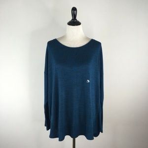 Lane Bryant Teal Ribbed Long Sleeves Sweater